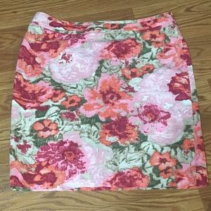 Talbots pencil skirt 14P pink flowers